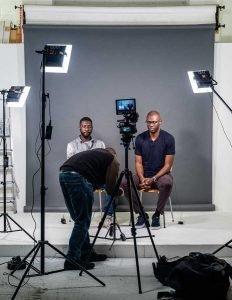 film pitch video setup to camera