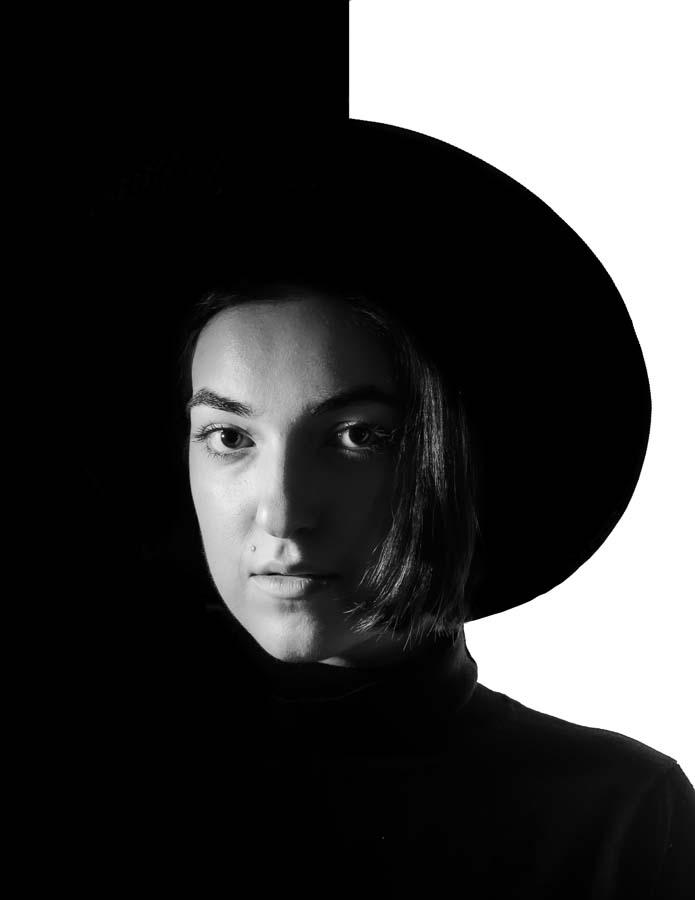 creative black white portrait