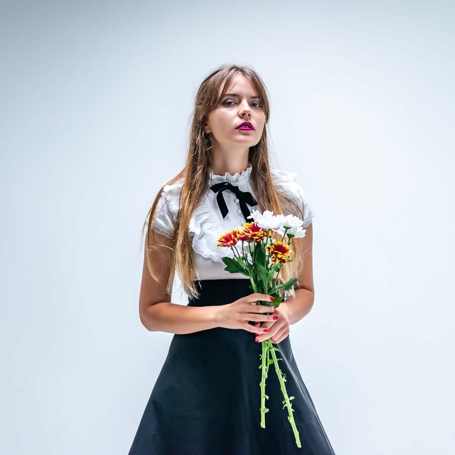 portrait model with flowers