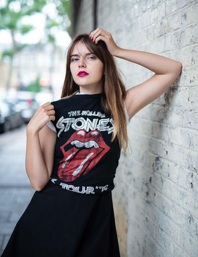 model with rock T-Shirt portrait
