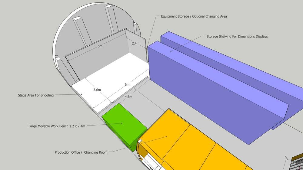 photo studio 3d plan view